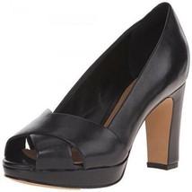Clarks Artisan Jenness Cloud Black Leather Peep-toe Pumps Sz 10 W Shoes - $47.02