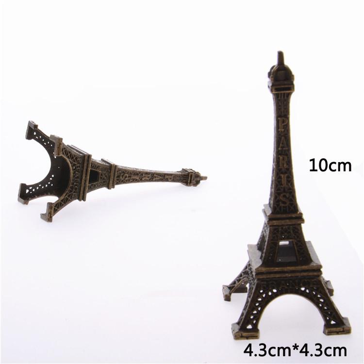 Bronze Tone Paris Eiffel Tower Figurine Statue Vintage Model Romantic Decor Allo