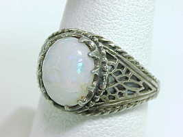 Genuine OPAL CABOCHON Vintage RING in Sterling with Open Cut Filigree - ... - £100.36 GBP