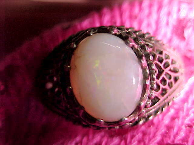 Genuine OPAL CABOCHON Vintage RING in Sterling with Open Cut Filigree - Size 7