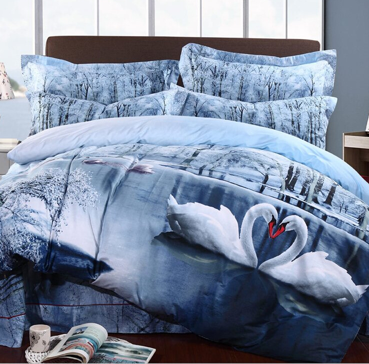3d swan lake bedding set print reactive100 cotton high for High thread count bed sheets
