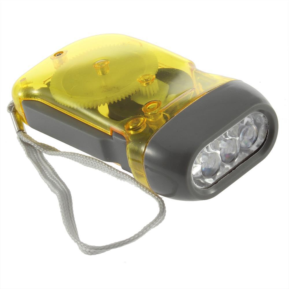 3 LED Wind Up Flashlight Crank Dynamo AZ Camping Hand Press Torch Light NR