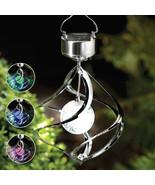 Solar Powered Color Changing Wind Spinner LED Light Hang Spiral Garden L... - $15.99