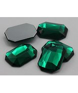 18x13mm Green Emerald A10 Flat Back Octagon Acrylic Gemstones High Quali... - $5.84