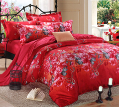 Bedding Set Print Reactive100% Cotton High Thread Count 4 pcs floral set 3-02 - $141.00+
