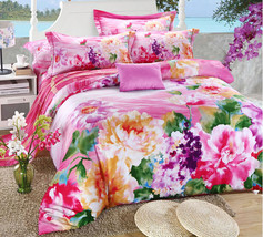 Bedding Set Print Reactive100% Cotton High Thread Count 4 pcs floral set 3-04 - $141.00+