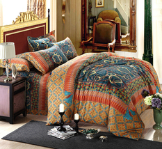 Bedding Set Print Reactive100% Cotton High Thread Count 4 pcs floral set 3-08 - $141.00+