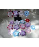 12 Random Felt/Polyester Flower Ponytail Holder/Bracelet with Bead Center. - $18.00