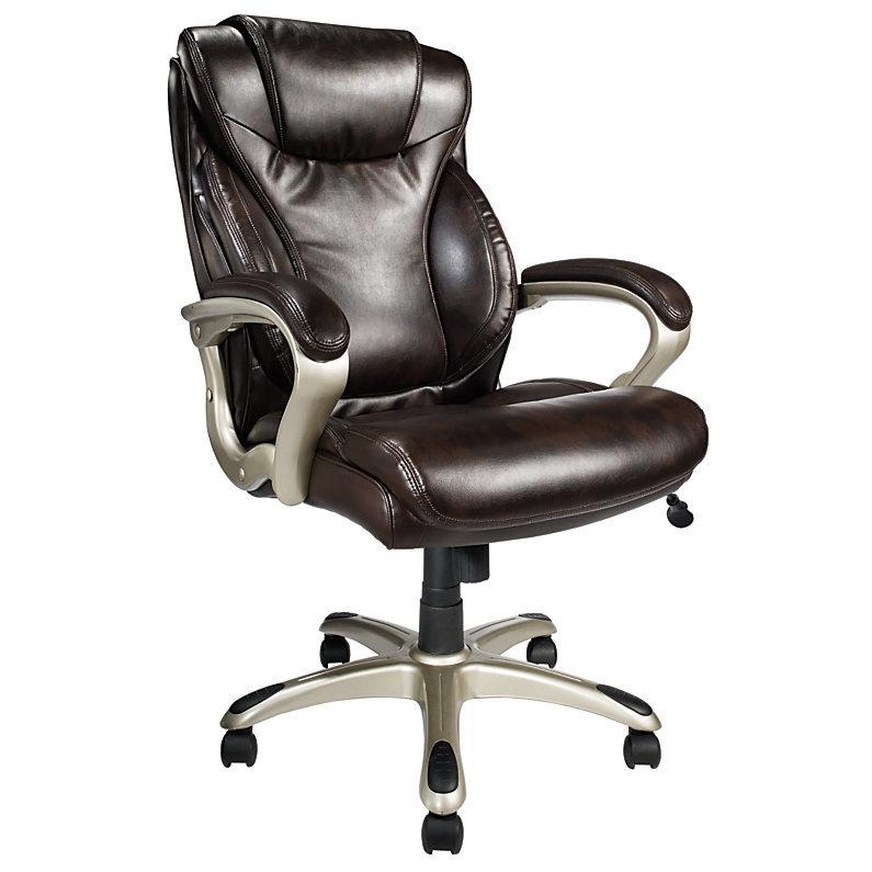 Realspace EC620 Executive High Back Chair Brown Silver