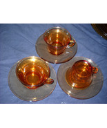 Cambridge Amber PLAIN Depression Glass Cup & Saucer(7 available - $9.99