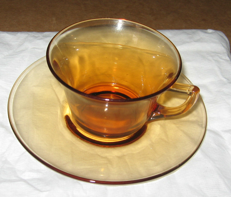 Cambridge Amber PLAIN Depression Glass Cup & Saucer(7 available
