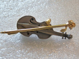 Vintage Signed Violin Pin. Music Pin With Rose. - $10.00