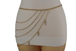 Cool Women Gold Metal Chain Side Hip Multi Strand Cross Charm Fashion Belt S M L - $19.59