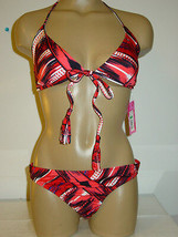 Xhilaration red black bikini two piece set swimsuit-M L-NWT NEW image 1