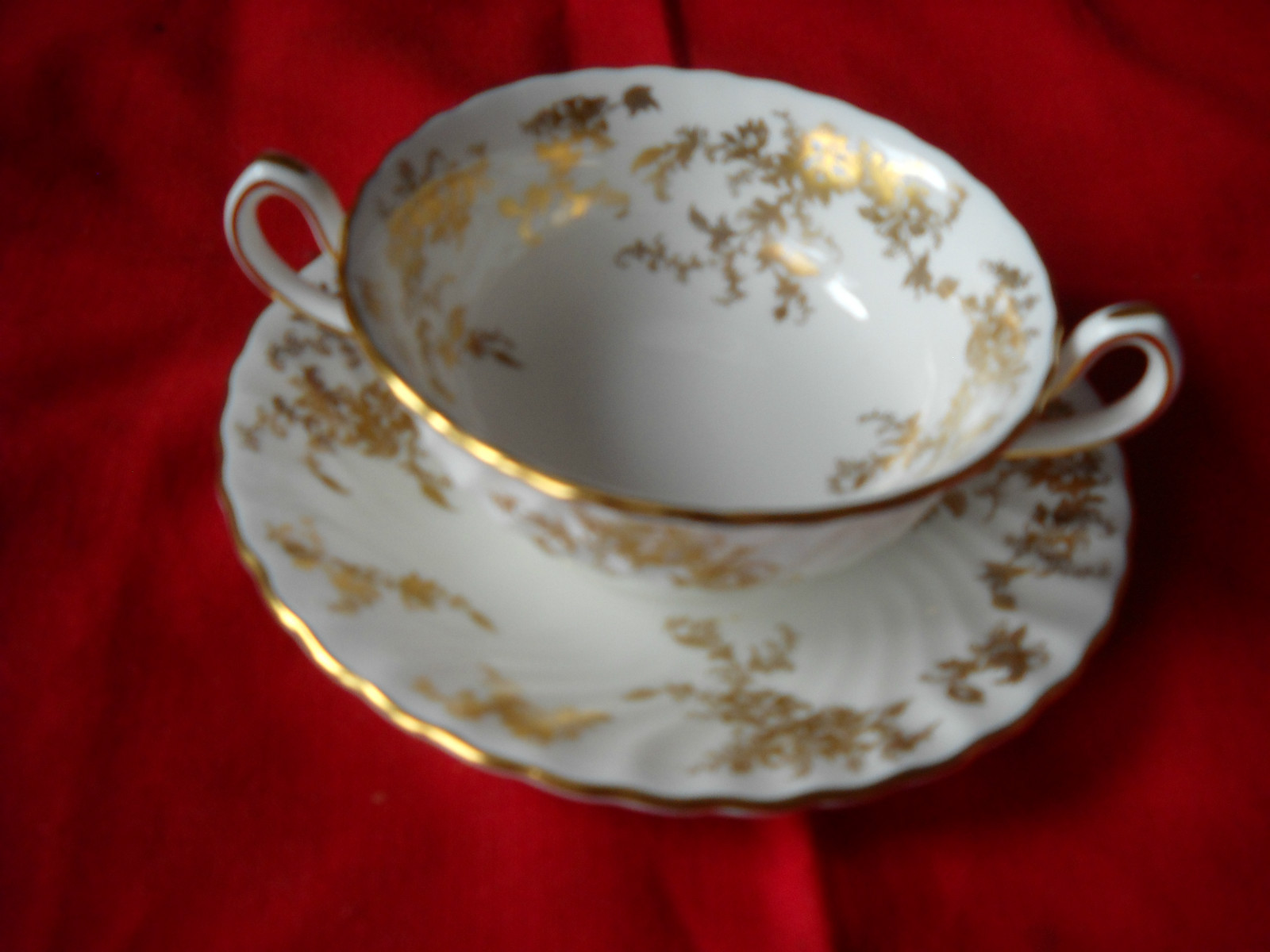 MINTON ANCESTRAL Cream soup cup and saucers (2  sets available)