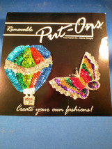 Vintage Sequin Butterfly Hot Air Balloon Jewelry Applique by Put-Ons Rem... - $25.00
