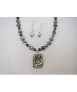 Abalone Pendant Necklace Earrings Sterling Hand... - $49.99