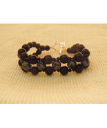 Black Onyx and Snowflake Obsidian Bracelet Ster... - $33.99
