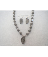 Gray Marbled White Swarovski  Pendant Necklace ... - $53.99