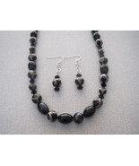 40.5 Inch Black Agate Necklace and Earrings Ony... - $56.99