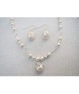 White Pearl Pendant Necklace Earrings Sterling ... - $44.99