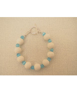 Golf Ball Bracelet White Aqua Glass Handmade - $20.99