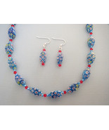 Millefiore Red Blue Aqua Glass Necklace Earring... - $36.99