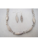 Gray Oval Shell Crystal Necklace Earrings Handmade - $34.99