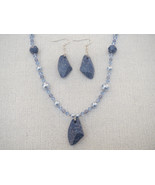Blue Marbled Swarovski  Pendant Necklace Earrings - $49.99