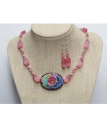 Pink Multi Color Pendant Ceramic Necklace Earri... - $58.99