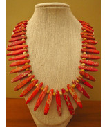 Orange Imperial Jasper Stick Necklace Handmade - $44.99