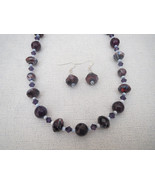 Amethyst Glass  Agate  Necklace Earrings Handmade - $46.99