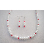 40 Inch White Glass Necklace Earrings Red Swaro... - $54.99