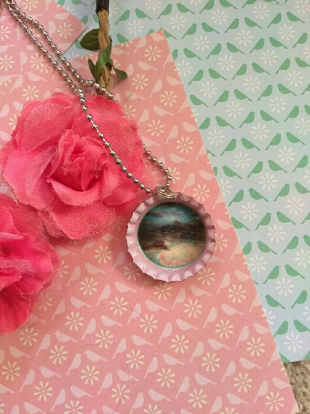Pink Galaxy Bottle Cap Necklace