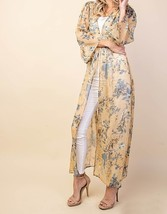 Soft Yellow Floral Duster, Chiffon Layering Cardigan, Long Floral Duster, Womens