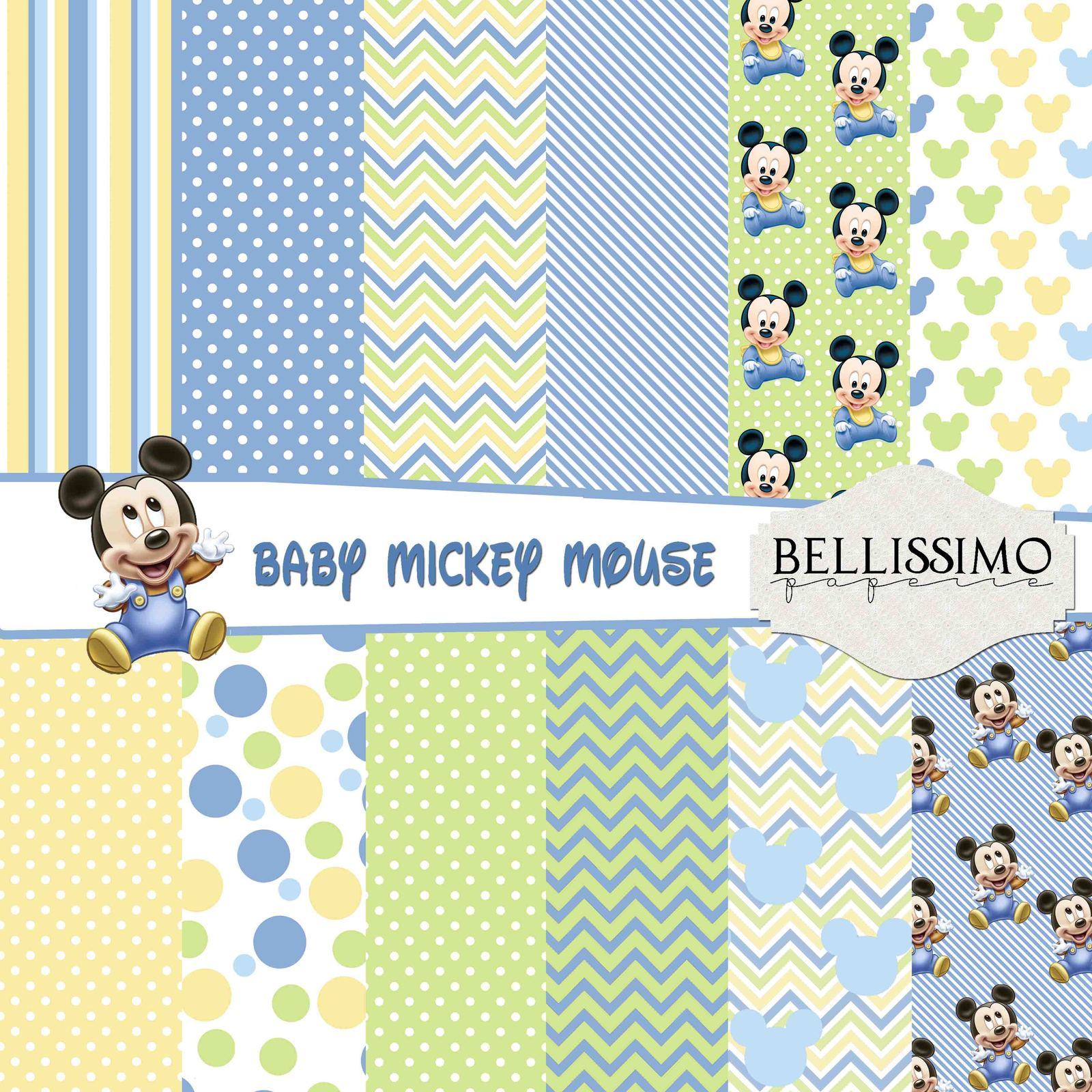 """Baby Mickey Mouse : Scrapbook Paper,12""""x12"""", Digital Paper, 12 Papers, Blue for sale  USA"""
