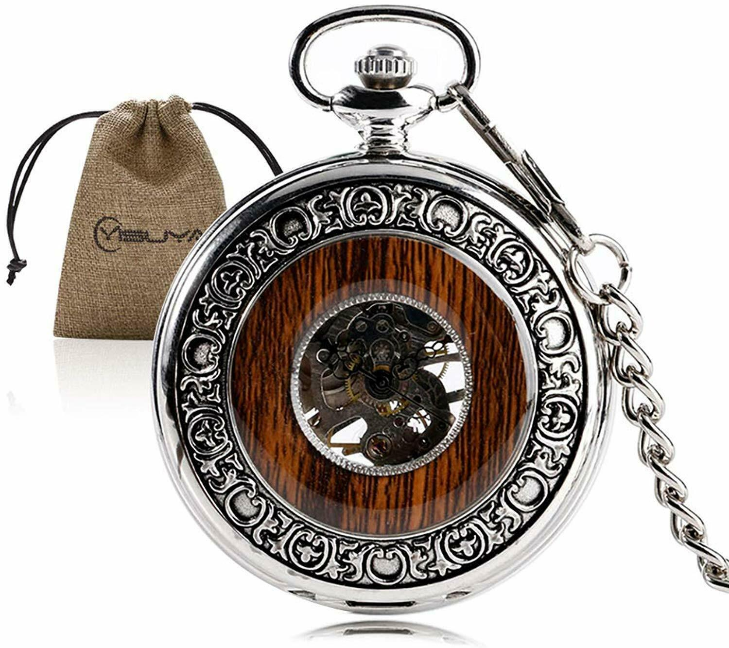 Primary image for Vintage Bronze Wooden Mechanical Pocket Watch Roman Numerals Creative Carving