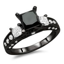 Black Moisanite Center Engagement Ring Silver T... - $299.00