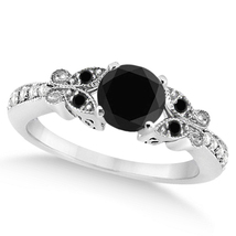 Black Butterfly Black Diamond Engagement Ring - $1,295.00