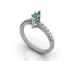 Silver Engagement Ring with Lab Created Emerald... - $109.00