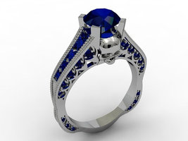 Skull Engagement Ring with Blue Lab Created Cen... - $199.99