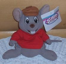 "Disney Plush Beans 7"" The Rescuers Bernard Gray Mouse in Red Shirt & Cap - $4.89"