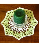 White Flower in Green - Handmade Fiber Art Coasters by RSS Designs In Fiber - $5.00