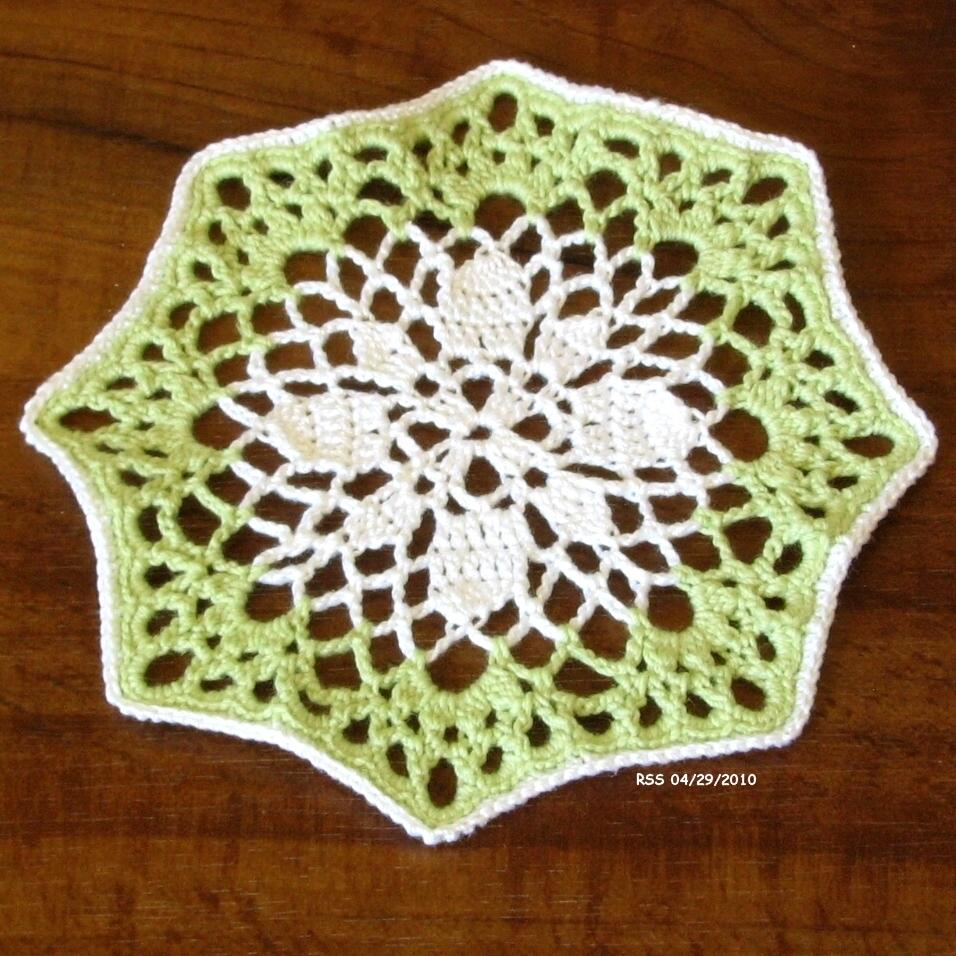 White Flower in Green - Handmade Fiber Art Coasters by RSS Designs In Fiber