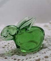 Vintage Green Art Glass RABBIT Figurine, Glass Paperweight, Collectible ... - $14.00