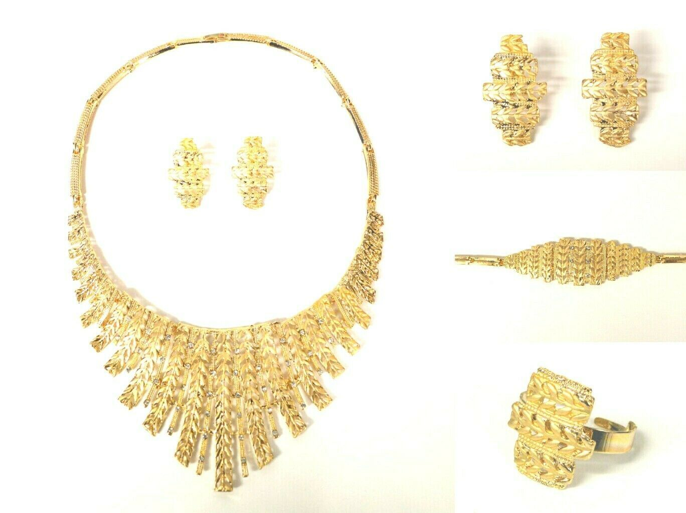 Primary image for STATEMENT GLAM BLING CURVED BIB VINTAGE FOUR PIECE JEWELLERY NECKLACE SET GOLD