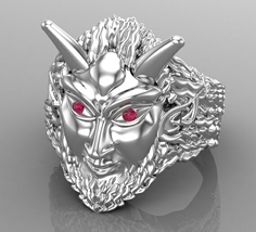 Pan Pagan Mens Ring Solid Silver with Ruby Eyes - $495.00