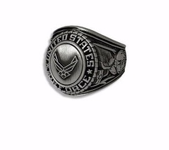 MILITARY RING USAF 18kt ELECTROPLATE CAST BRONZE TOP WITH NEW AIR FORCE ... - $54.95