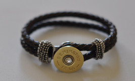 Remington 12 Gauge Shotgun Shell Brown Leather Bracelet Braided  Interchangable  - $24.99