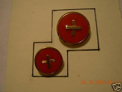 DESIGNER SH BUTTON SET GOLD/ RED ENAME L24/30 12 PC Bonanza